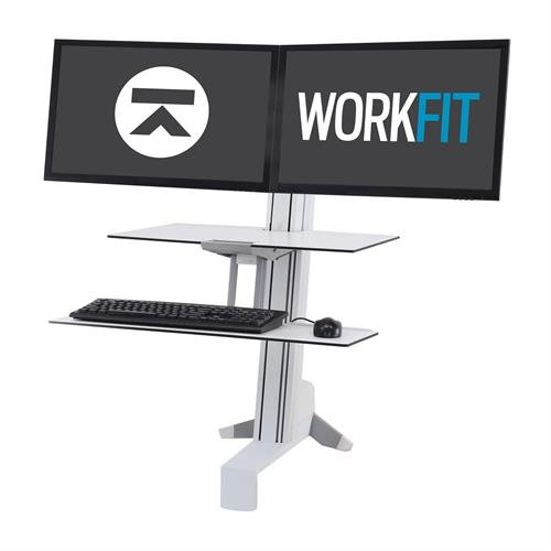 Ergotron WorkFit-S Dual Workstation with Worksurface white