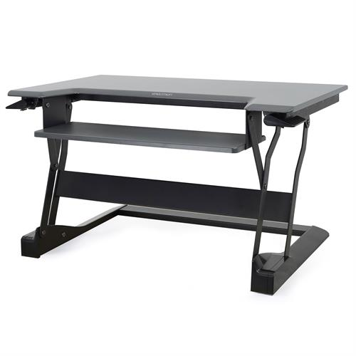Ergotron WorkFit-T Standing Desk Workstation black with grey surface